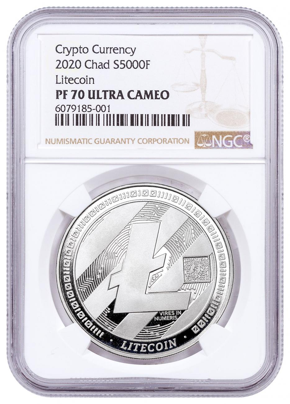 2020 Republic of Chad Fr5,000 1 oz Silver LiteCoin Crypto Currency 1 oz Silver Proof Coin NGC PF70