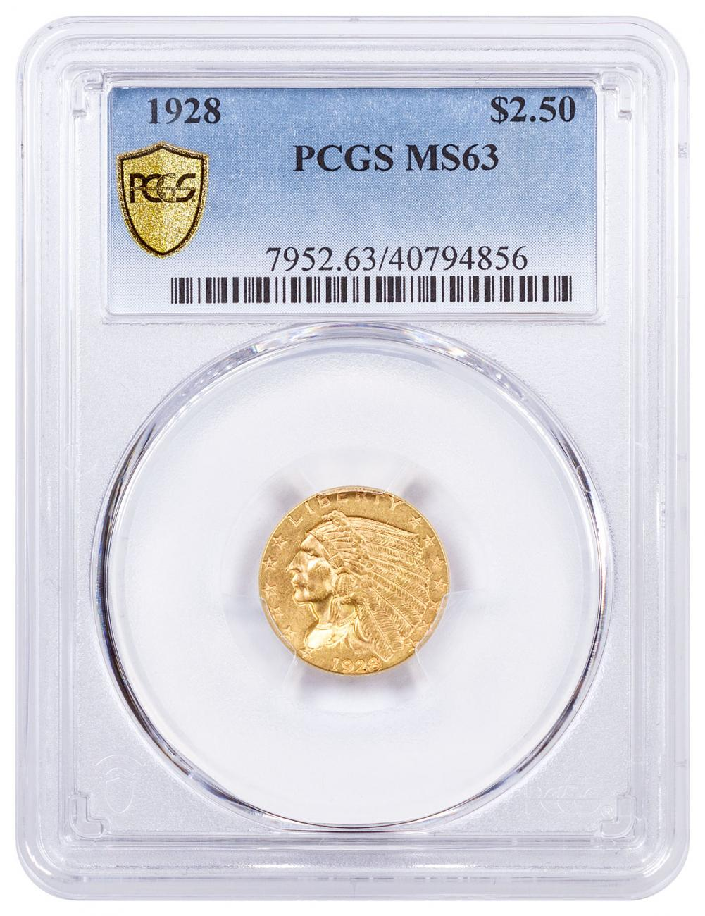1928 Indian Head $2.50 Gold Quarter Eagle PCGS MS63