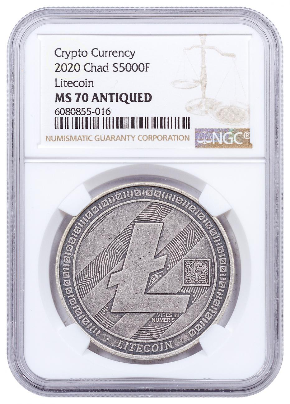 2020 Republic of Chad Fr5,000 1 oz Silver Litecoin Crypto Currency Antiqued Coin NGC MS70