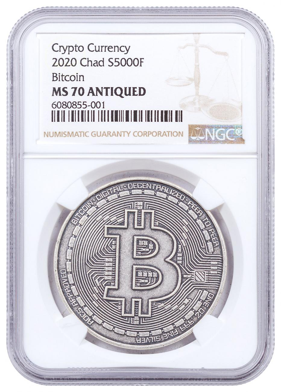 2020 Republic of Chad Fr5,000 1 oz Silver BitCoin Crypto Currency Antiqued Coin NGC MS70