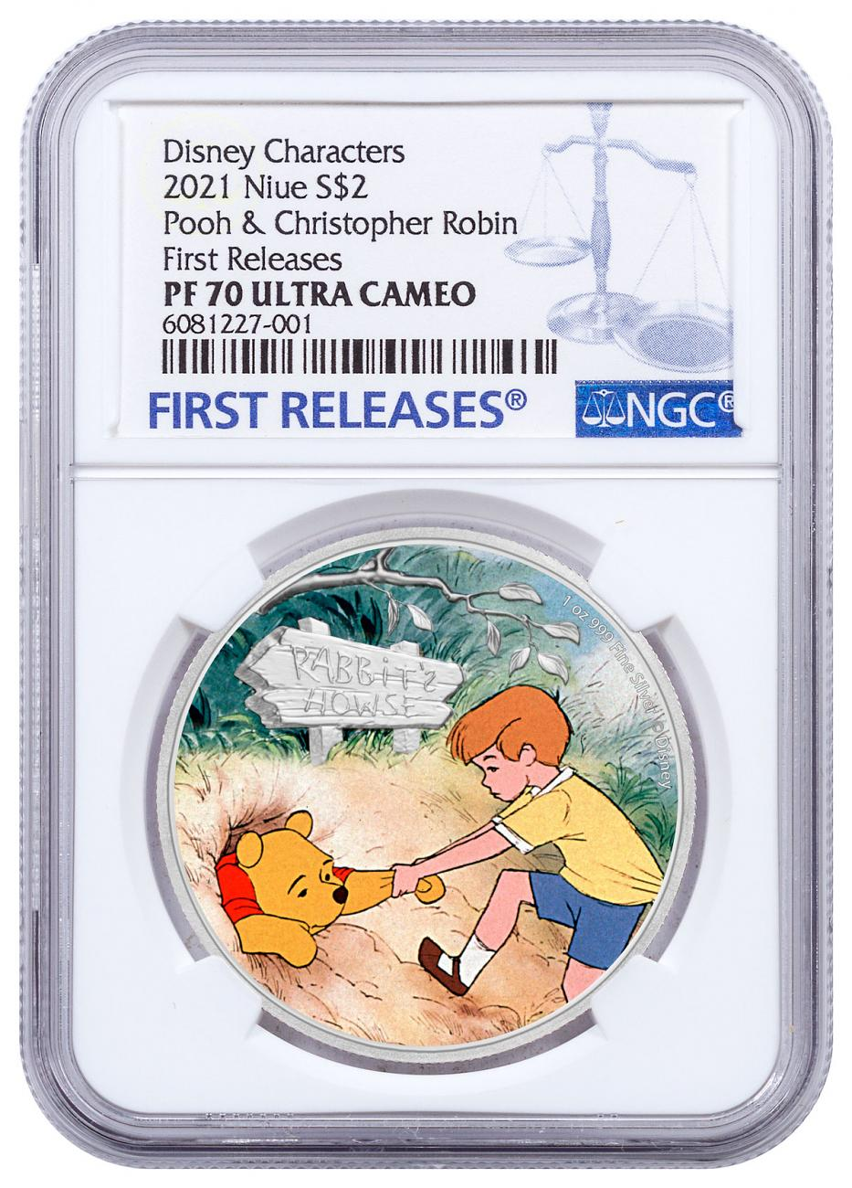 2021 Niue Disney Characters - Winnie the Pooh & Christopher Robin 1 oz Silver Colorized $2 Proof Coin NGC PF70 UC FR