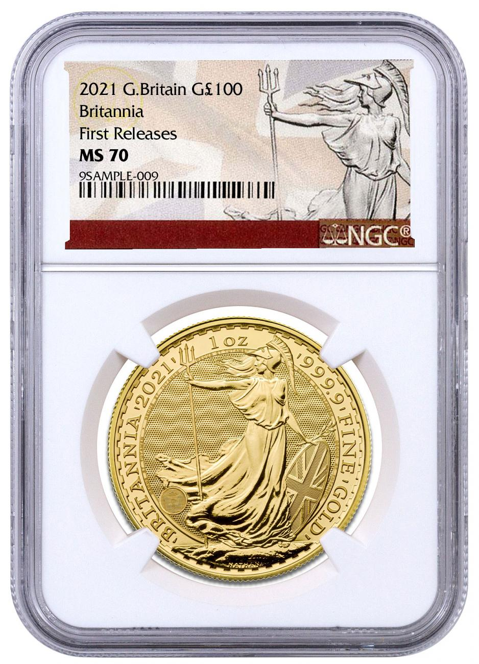 2021 Great Britain Gold Britannia 1 oz Gold £100 Coin NGC MS70 FR White Core Holder Britannia Label