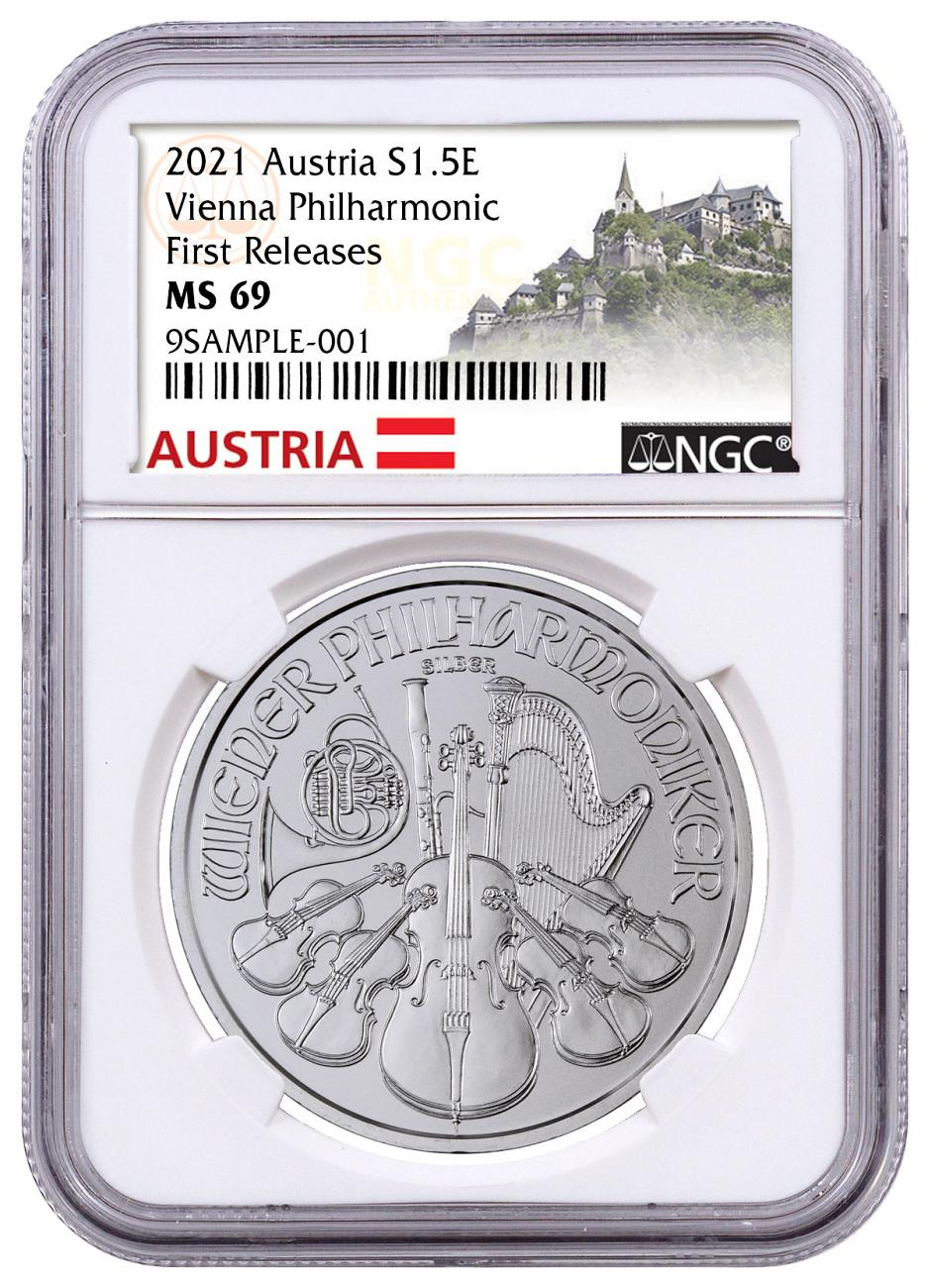 2021 Austria 1 oz Silver Philharmonic €1.50 Coin NGC MS69 FR Exclusive Austria Label