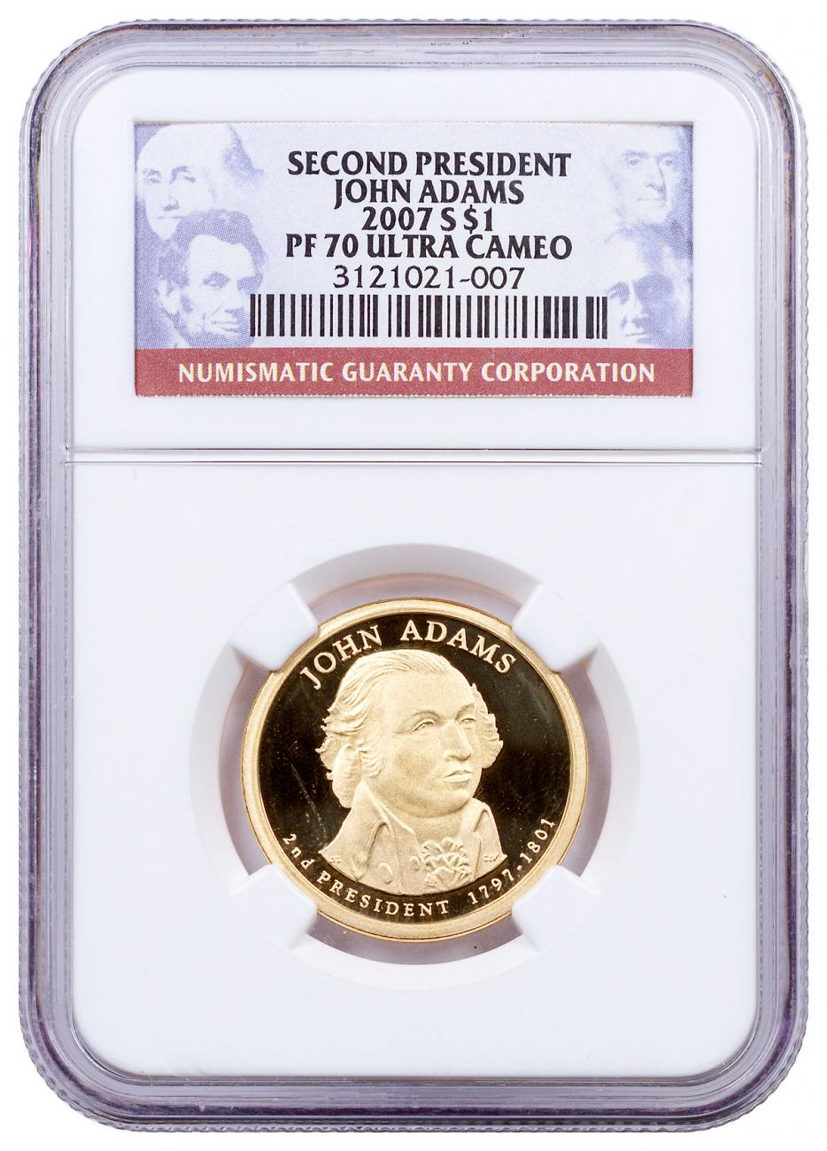 2007-S John Adams Proof Presidential Dollar NGC PF70 UC