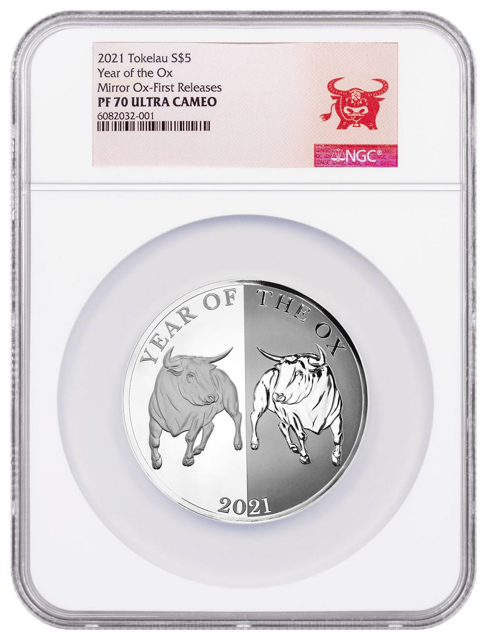 2021 Tokelau 1 oz Silver Lunar Year of the Ox Mirror Proof $5 Coin NGC PF70 UC FR COA Year of the Ox Label
