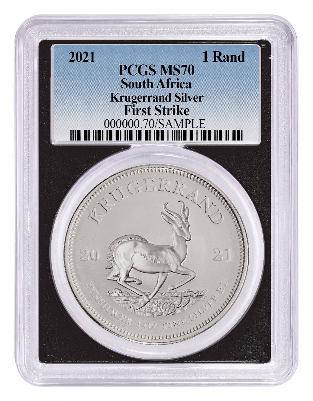 2021 South Africa 1 oz Silver Krugerrand R1 Coin PCGS MS70 FS Black Core Holder