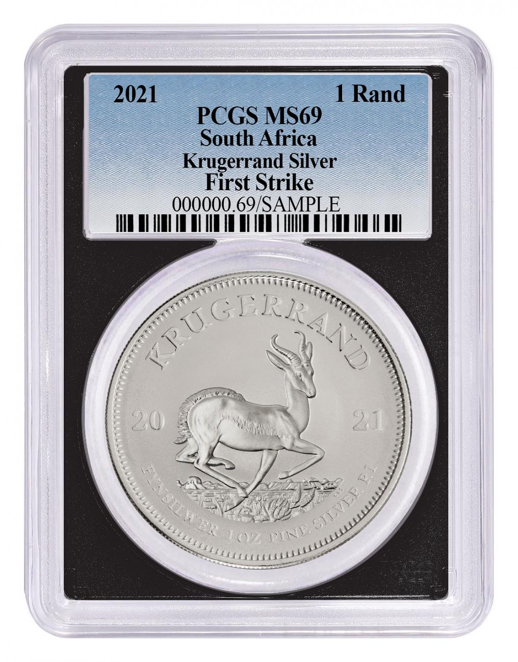 2021 South Africa 1 oz Silver Krugerrand R1 Coin PCGS MS69 FS Black Core Holder