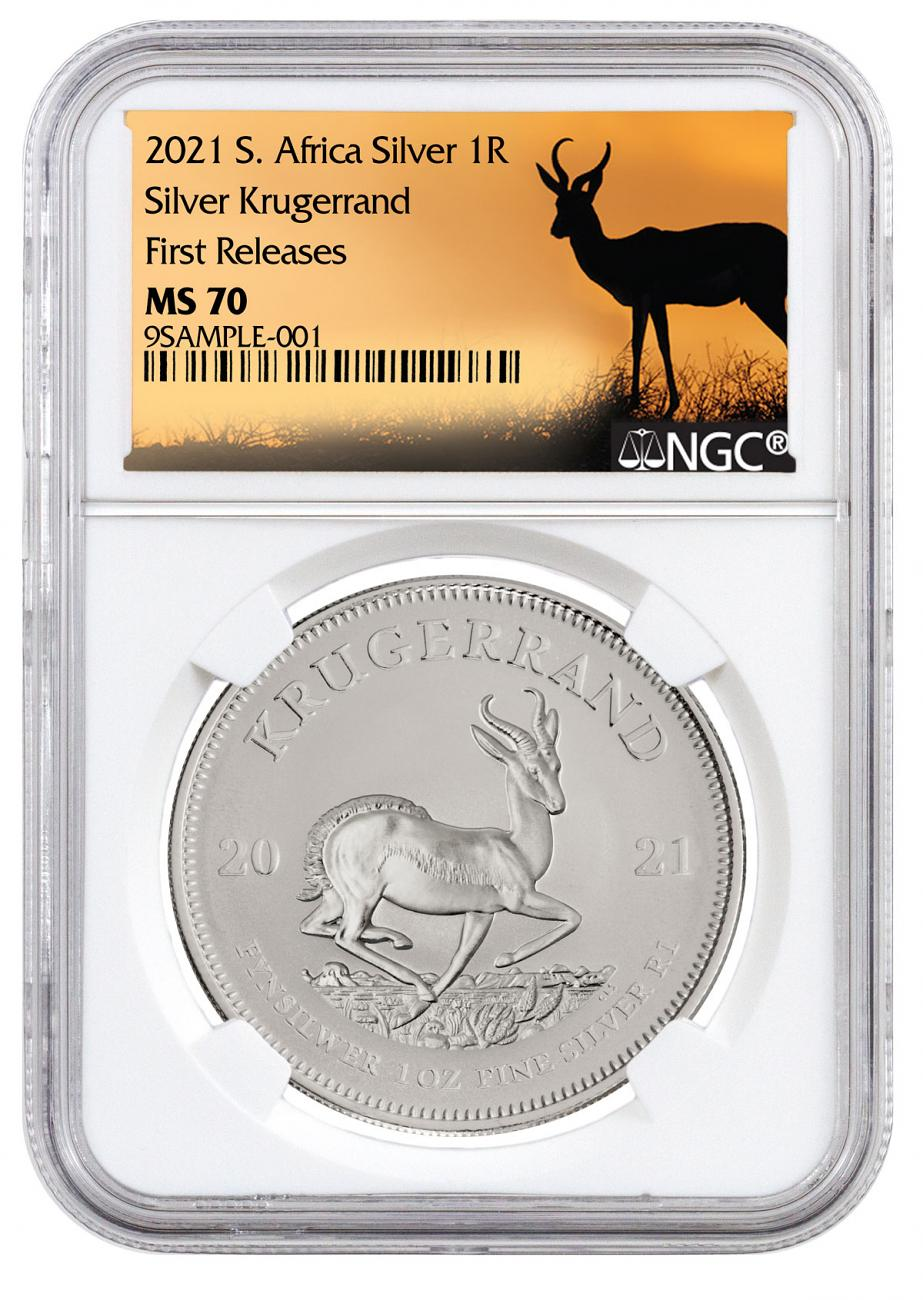 2021 South Africa 1 oz Silver Krugerrand R1 Coin NGC MS70 FR White Core Holder Springbok Label