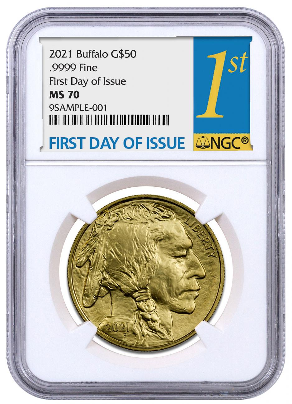 2021 1 oz Gold Buffalo $50 Coin NGC MS70 FDI Gold 1st Day Label