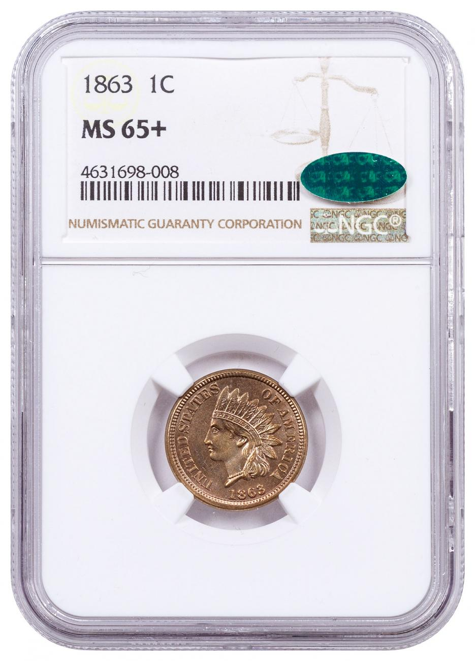 1863 Indian Head Cent NGC MS65 CAC