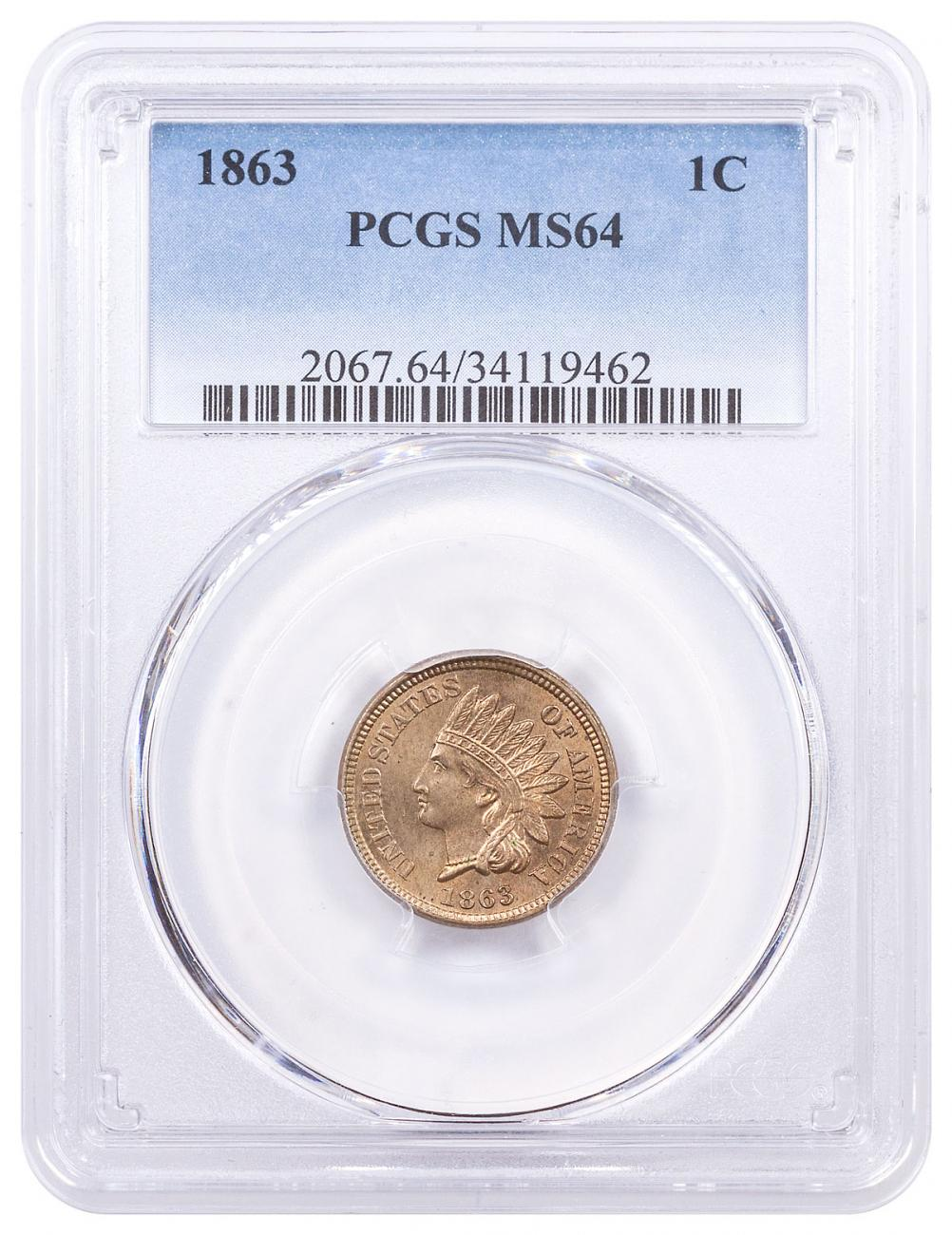 1863 Indian Head Cent PCGS MS64