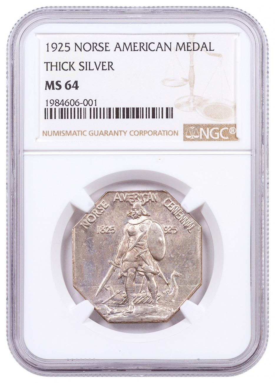 1925 United States Norse American Medal Thick Silver Medal NGC MS64 Brown Label