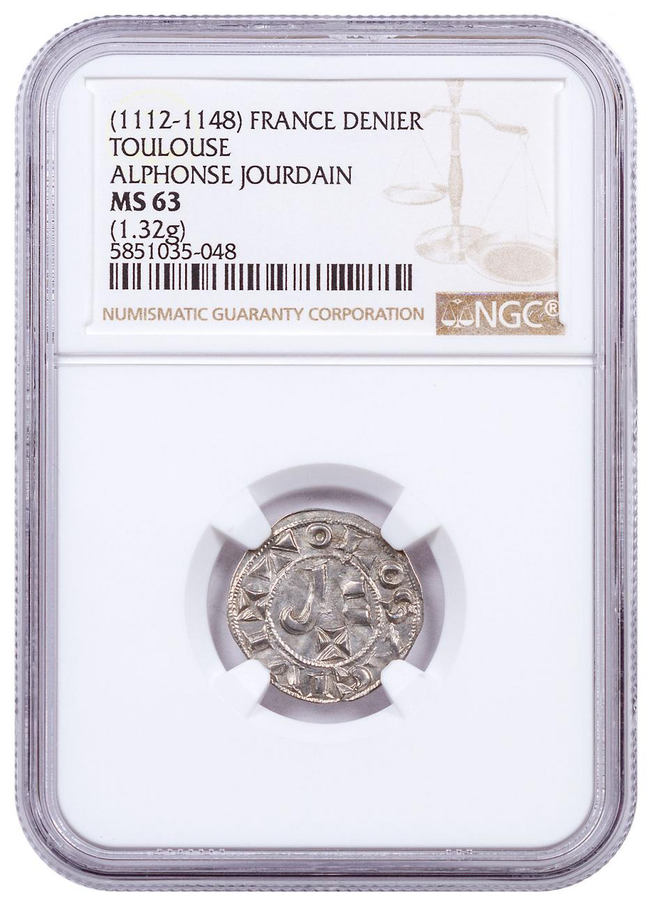 1112-1148 France Toulouse - Alphonse Jourdain Silver Denier NGC MS63 Brown Label