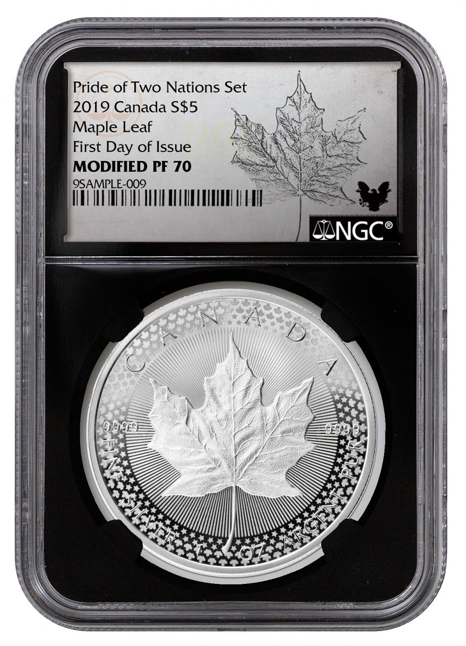 2019 Canada 1 oz Silver Maple Leaf - From Pride of Two Nations Coin Set Modified Proof $5 Coin NGC PF70 FDI Black Core Holder Exclusive Maple Label