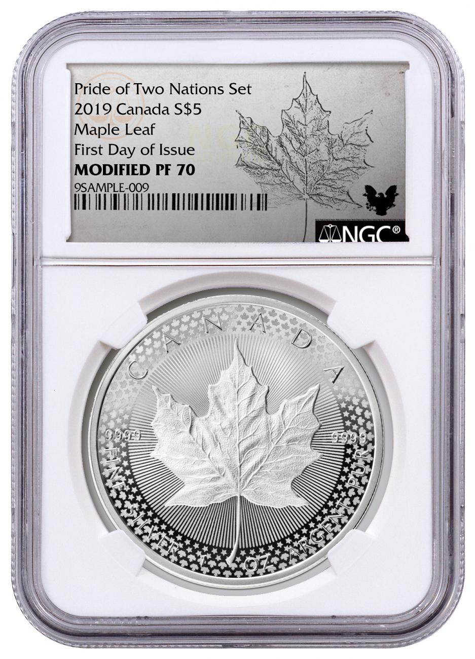 2019 Canada 1 oz Silver Maple Leaf - From Pride of Two Nations Coin Set Modified Proof $5 Coin NGC PF70 FDI Exclusive Maple Label