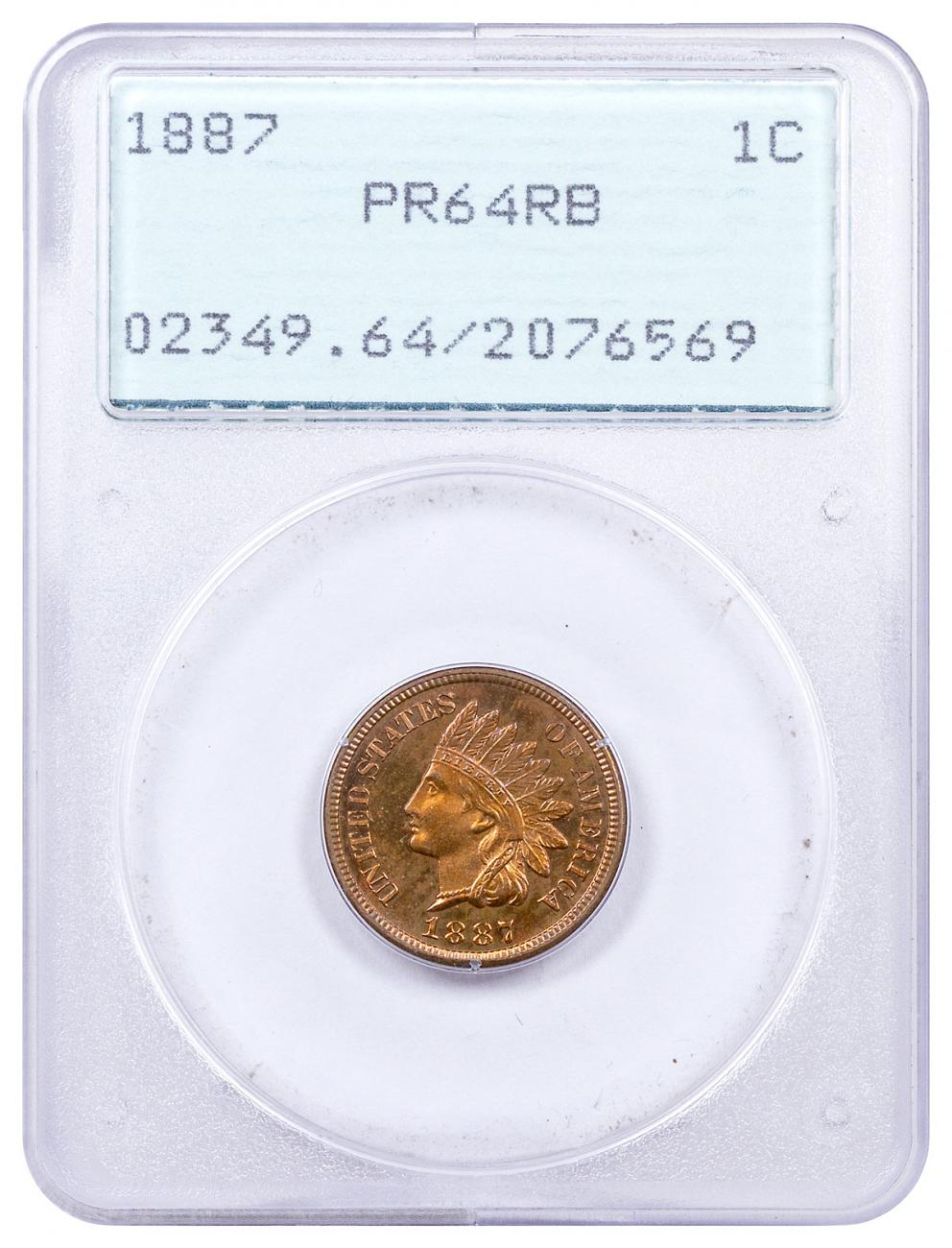 1887 Indian Head Cent PCGS PR64 Old Green Holder
