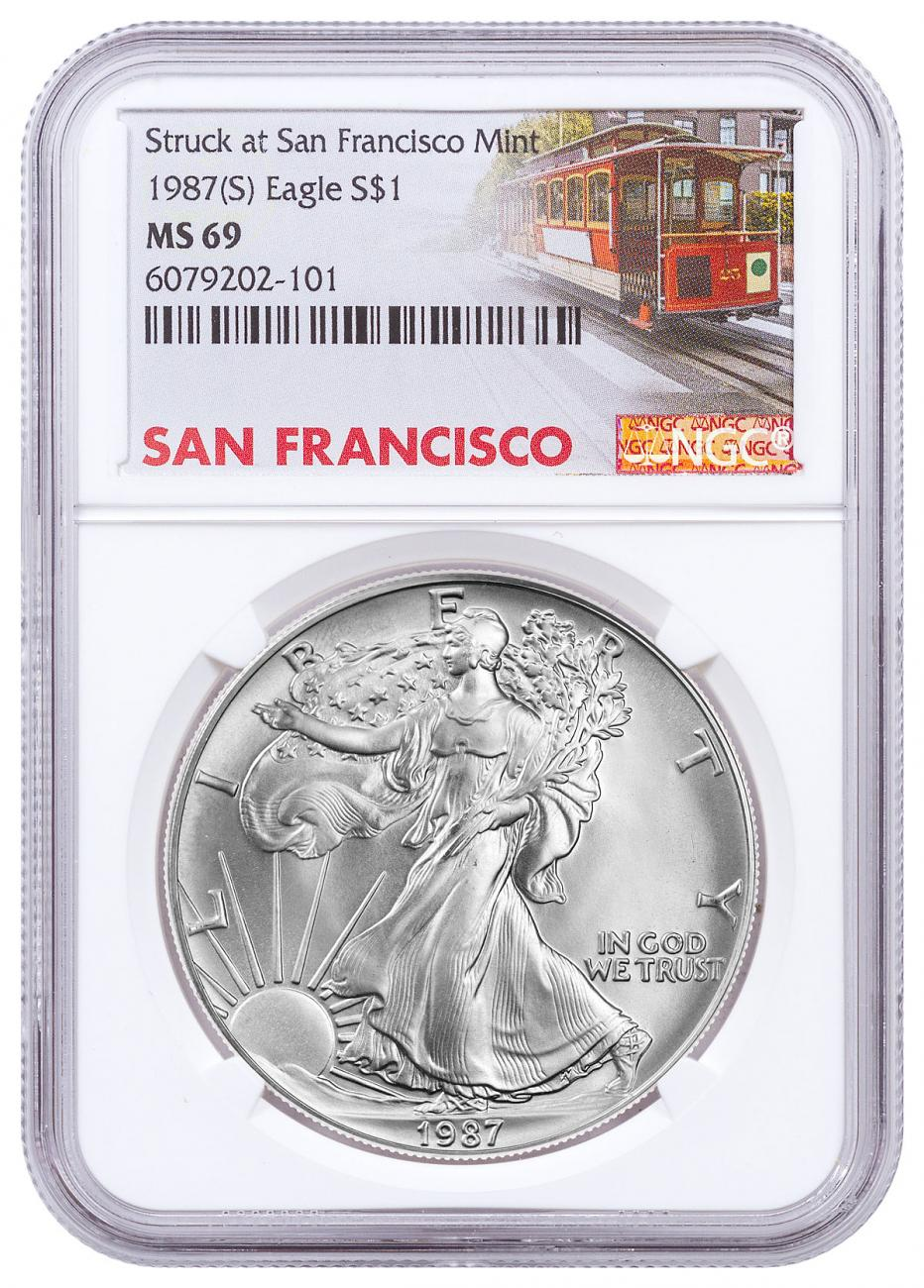 1987-(S) American Silver Eagle Struck at San Francisco Mint NGC MS69 Trolley Label