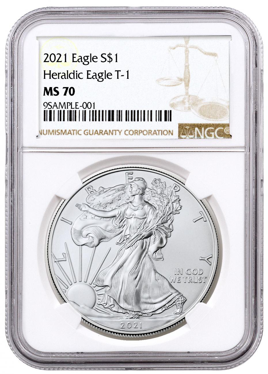 2021 American Silver Eagle Type 1 NGC MS70 Brown Label