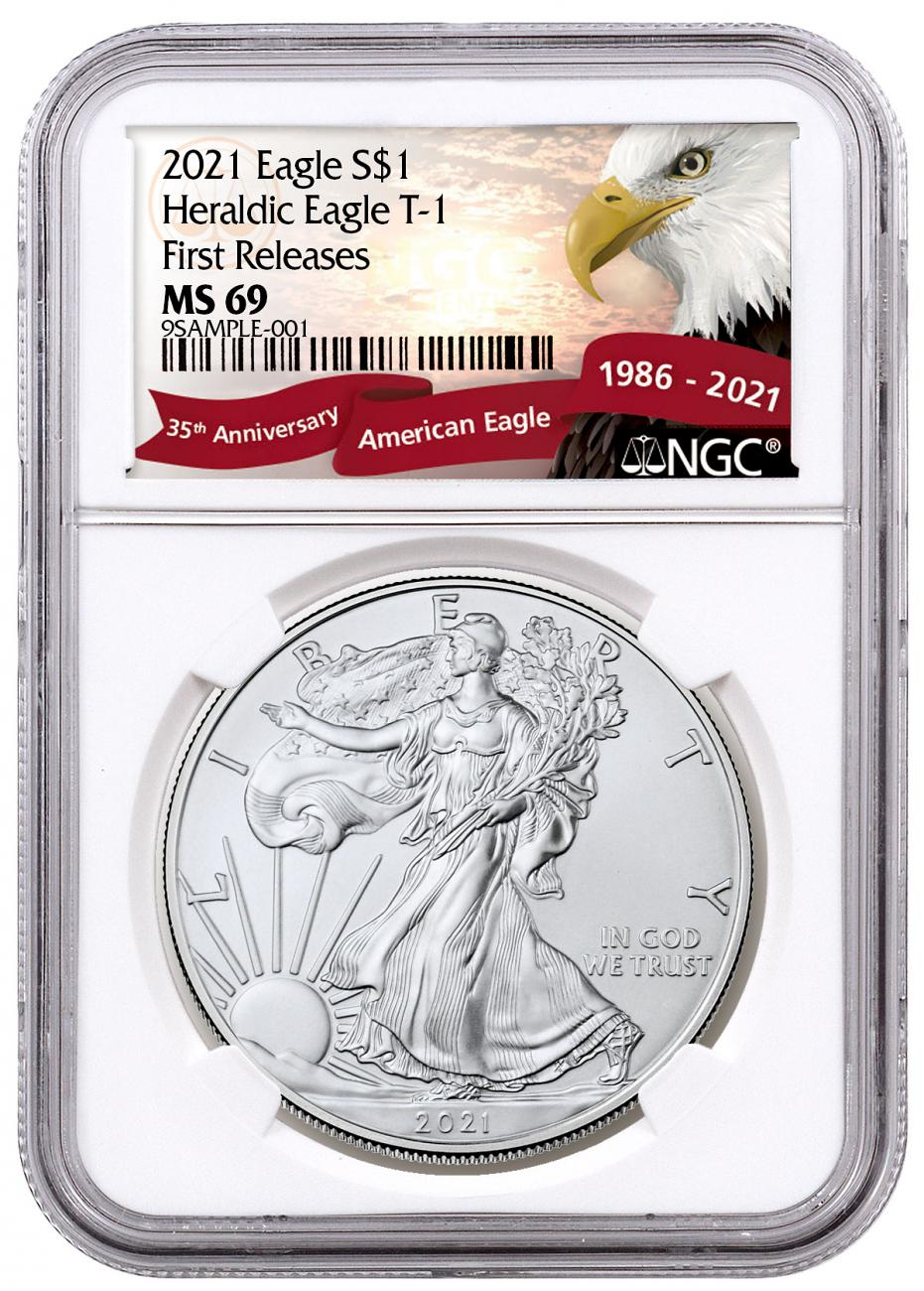 2021 American Silver Eagle T-1 NGC MS69 FR Exclusive Eagle Label