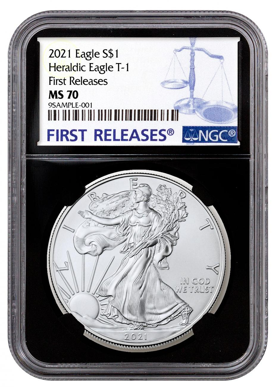 2021 American Silver Eagle T-1 NGC MS70 FR Black Core Holder