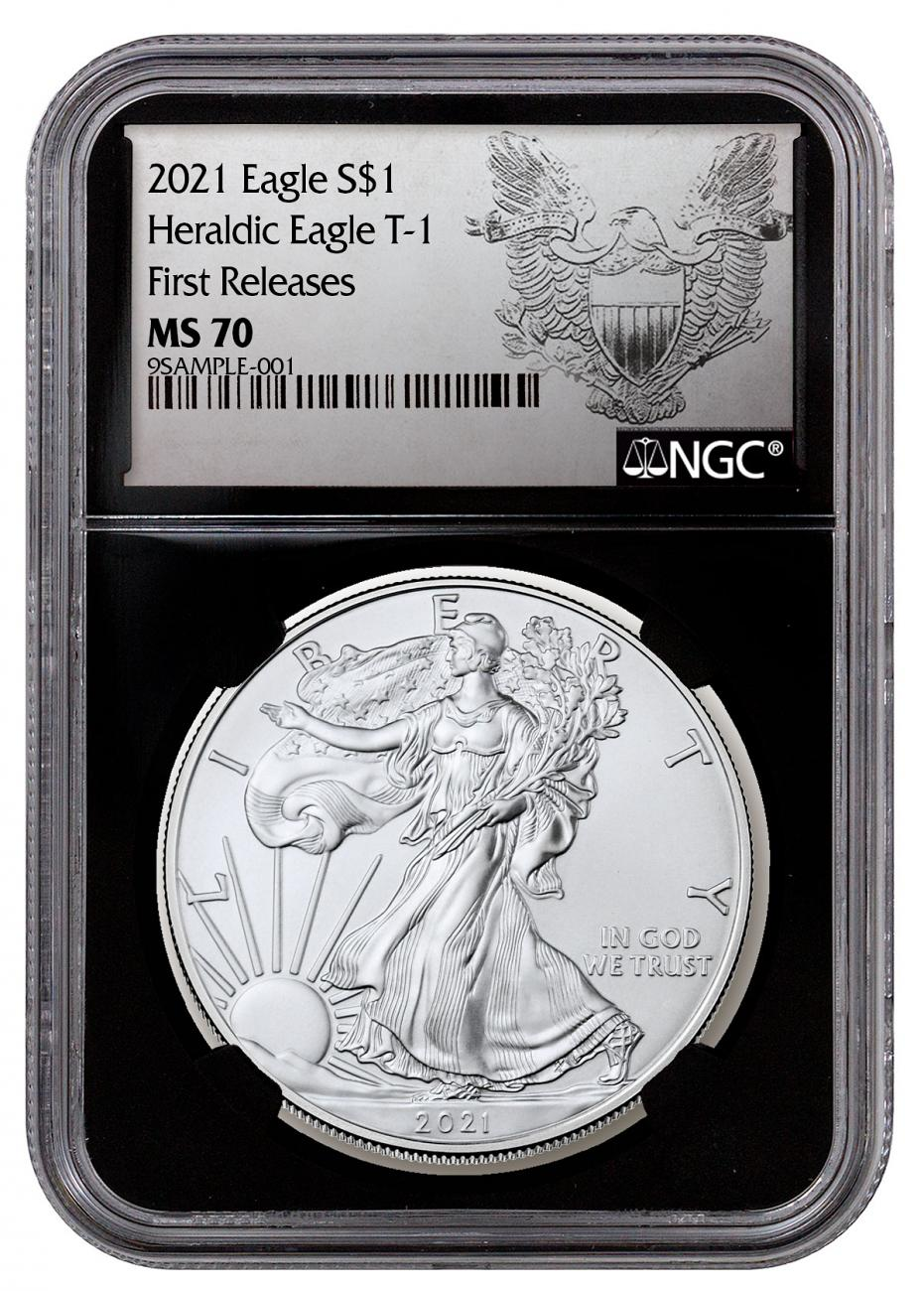 2021 American Silver Eagle T-1 NGC MS70 FR Black Core Holder Exclusive Heraldic Eagle Label