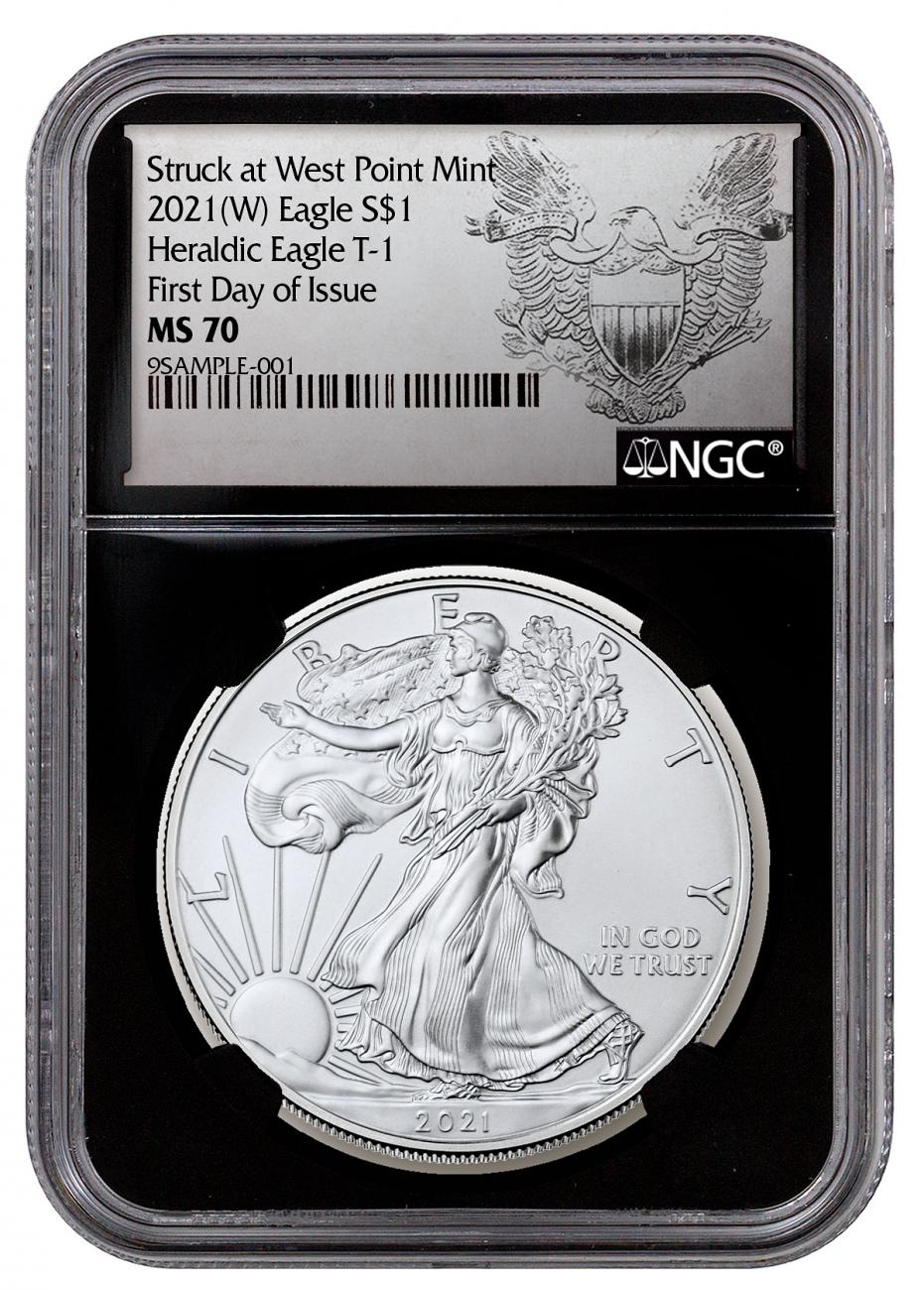 2021-(W) American Silver Eagle Struck at West Point Mint NGC MS70 FDI Black Core Holder Exclusive Heraldic Eagle Label