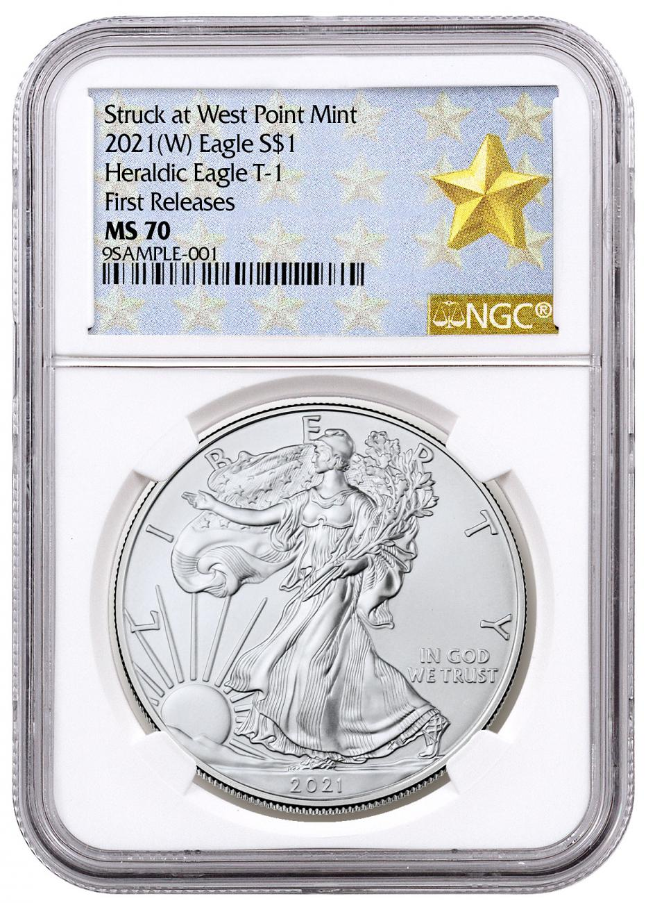 2021-(W) American Silver Eagle Struck at West Point Mint NGC MS70 FR West Point Gold Star Label