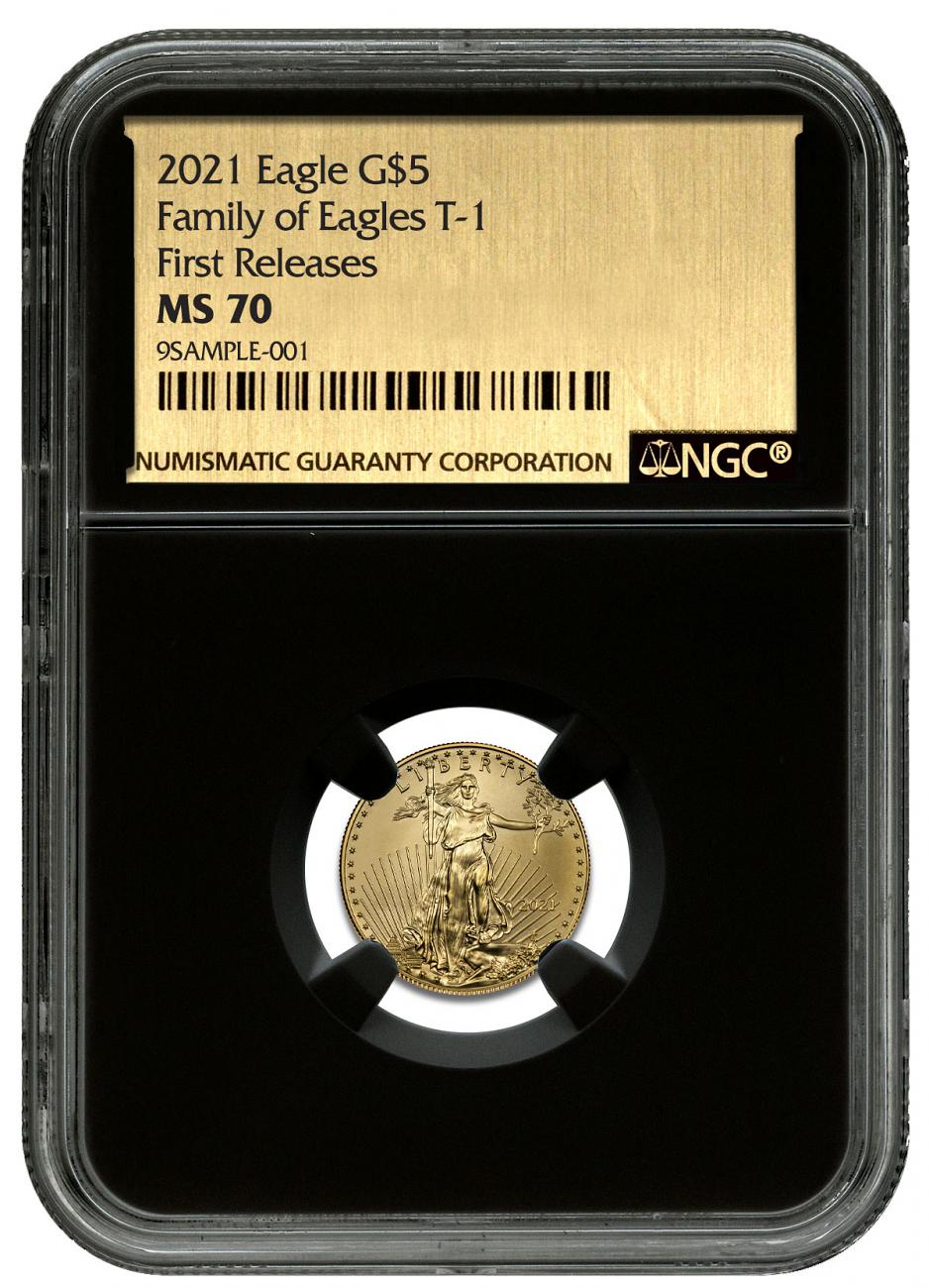 2021 1/10 oz Gold American Eagle T-1 $5 Coin NGC MS70 FR Black Core Holder Exclusive Gold Foil Label
