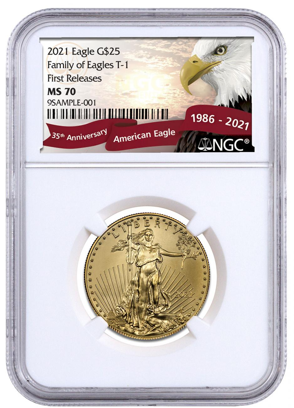 2021 1/2 oz Gold American Eagle T-1 $25 Coin NGC MS70 FR Exclusive Eagle Label