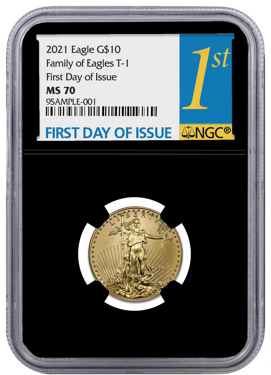 2021 1/4 oz Gold American Eagle T-1 $10 Coin NGC MS70 FDI Black Core Holder 1st Day Label