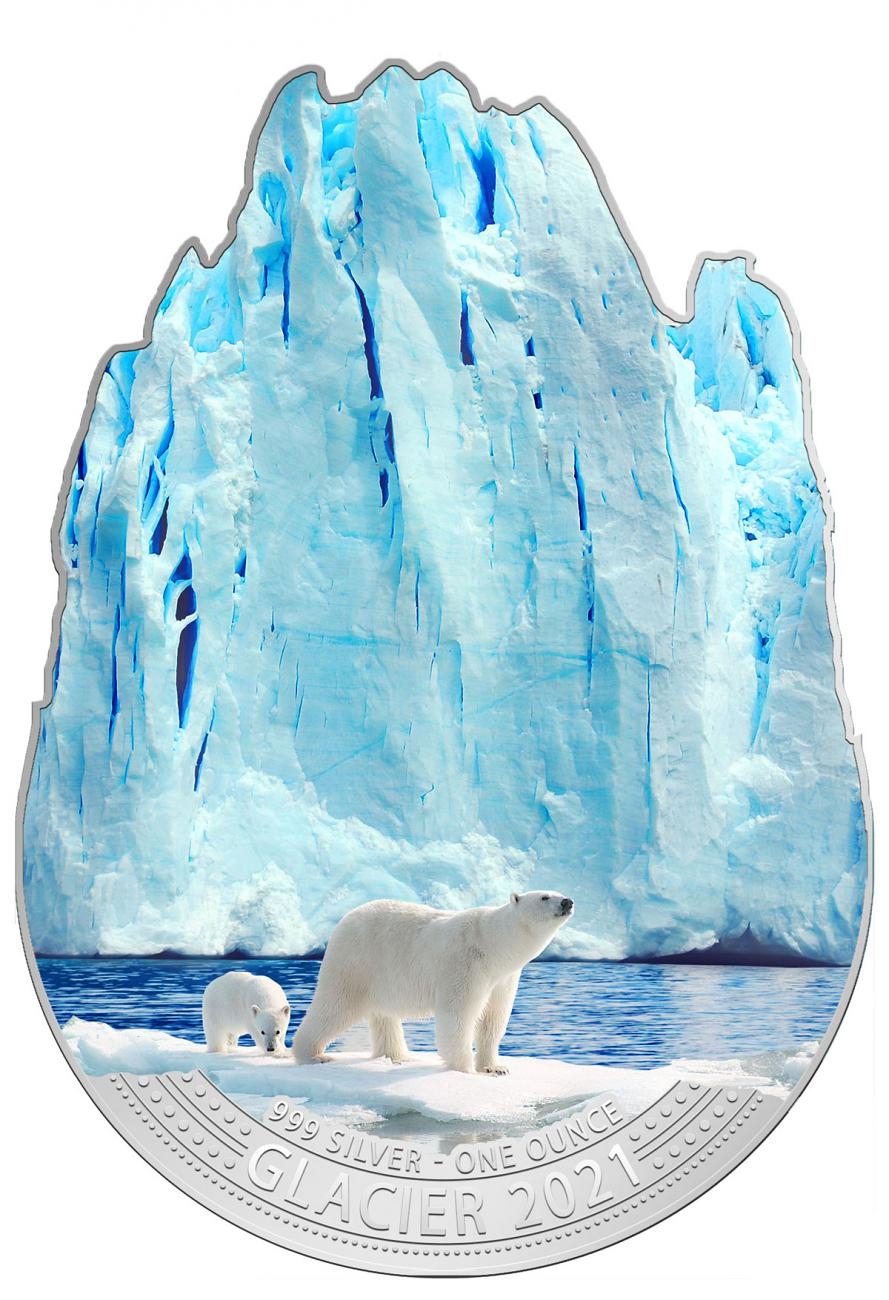 2021 Fiji Glacier Shaped 1 oz Silver Colorized $2 Coin GEM BU OGP