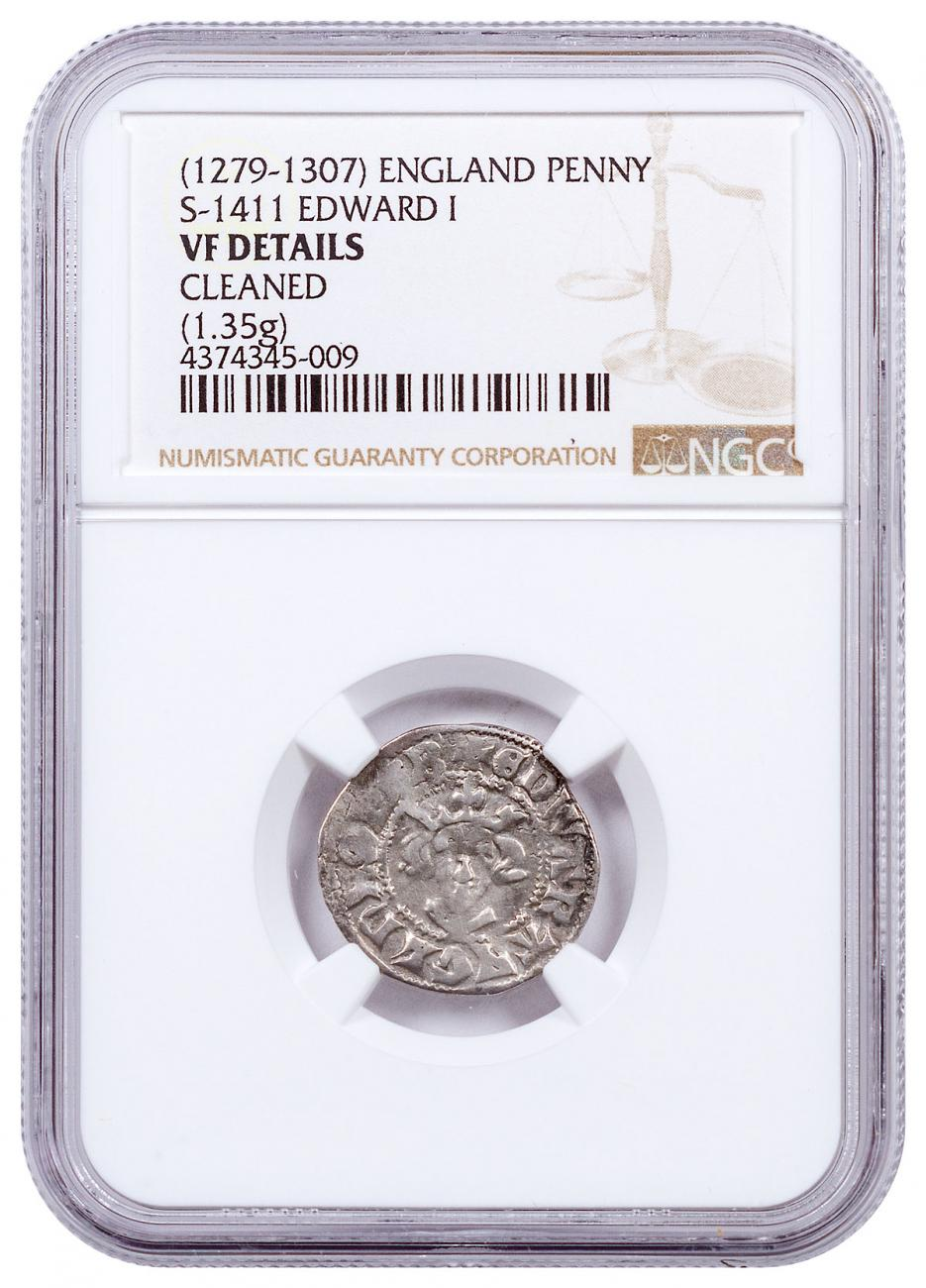 1279-1307 Great Britain England Canterbury Edward I Treasure Silver Penny Cleaned NGC VF Details