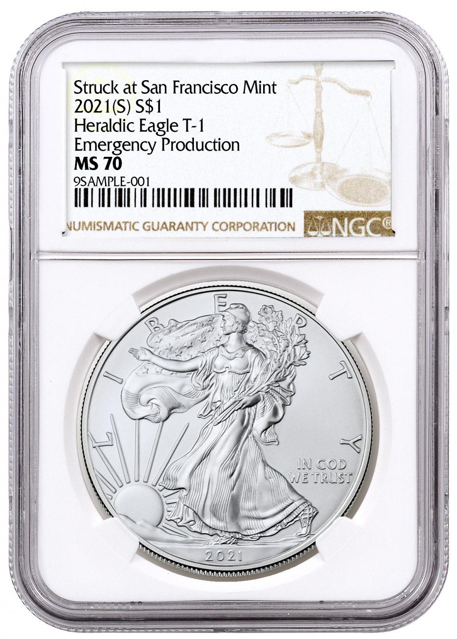 2021-(S) American Silver Eagle Emergency Production Struck at San Francisco Mint T-1 NGC MS70 Brown Label