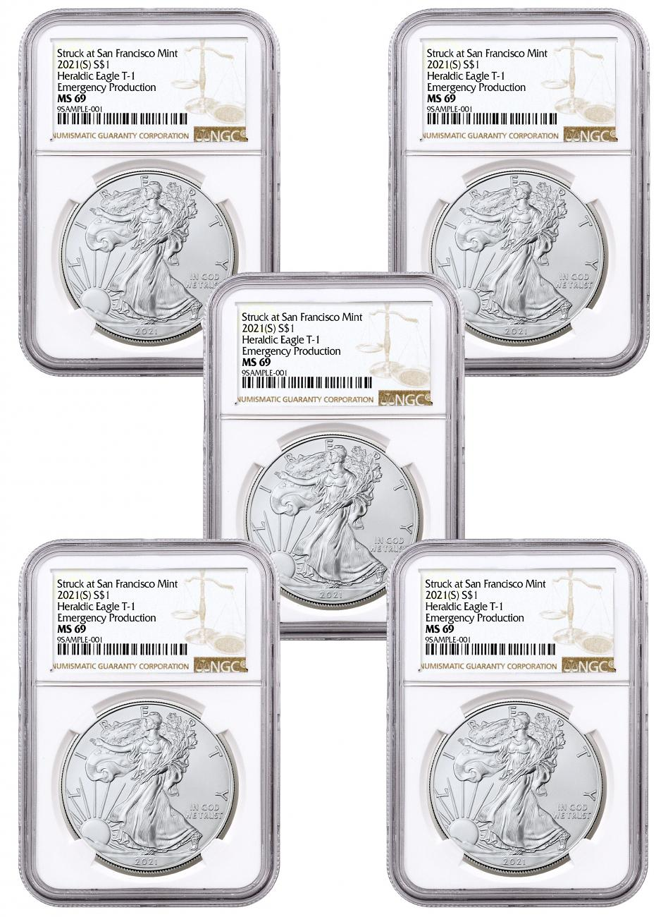 5-Pack - 2021-(S) American Silver Eagle Emergency Production Struck at San Francisco Mint Type 1 NGC MS69 Brown Label