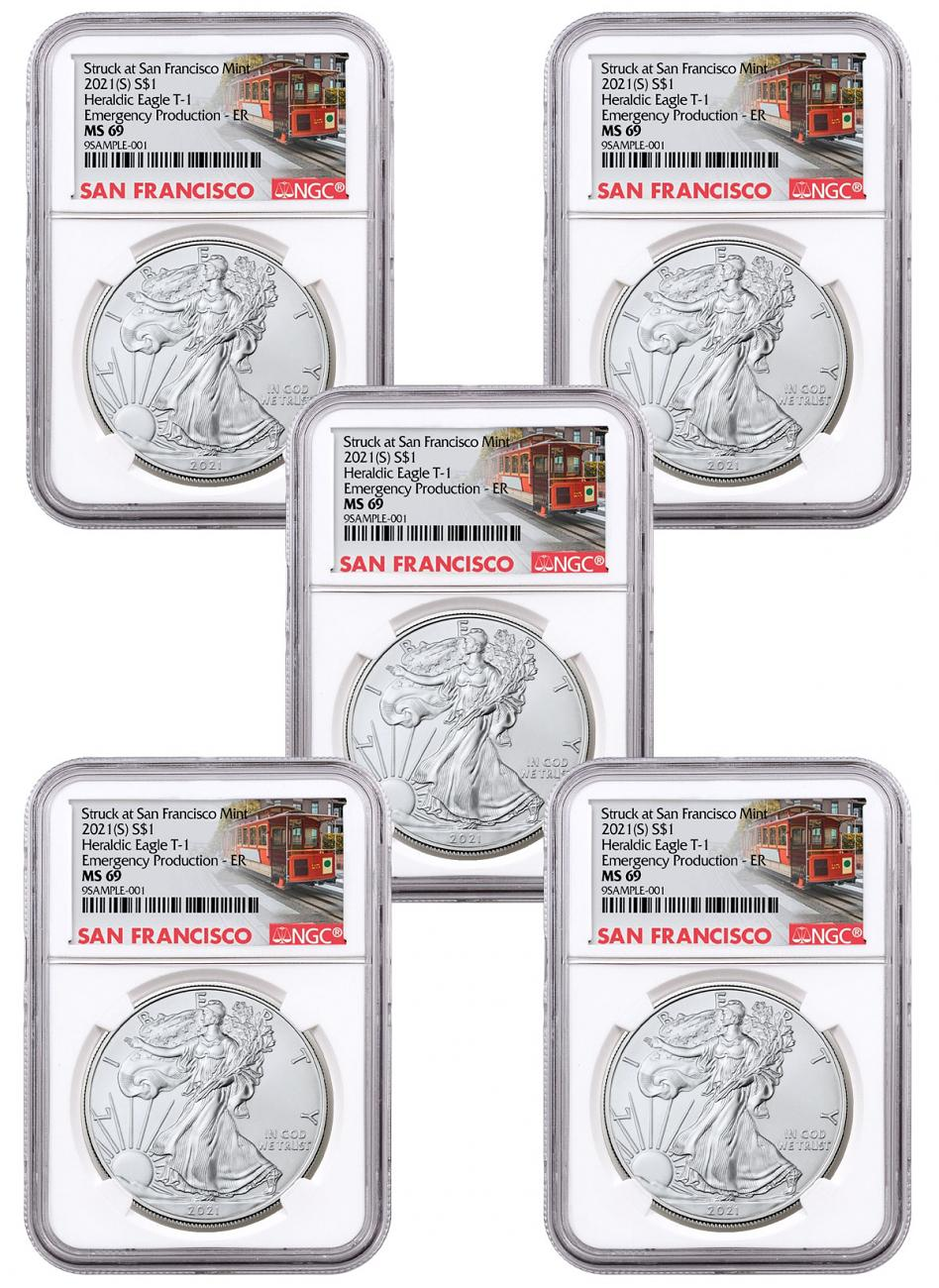 5-Pack - 2021-(S) American Silver Eagle Emergency Production Struck at San Francisco Mint T-1 NGC MS69 ER Trolley Label