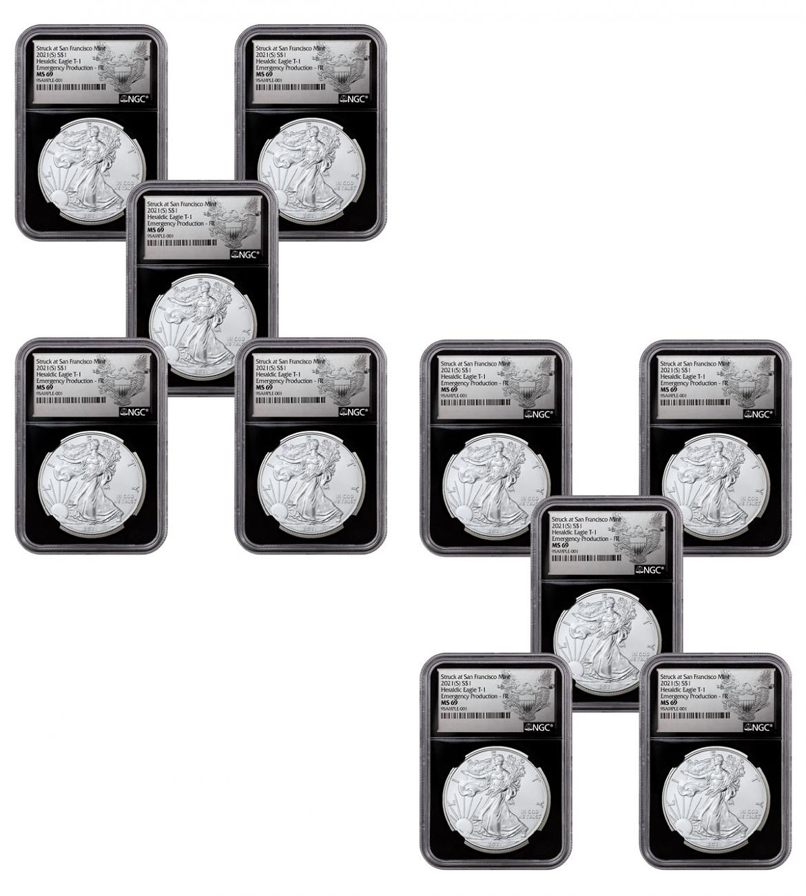 10-Pack - 2021-(S) American Silver Eagle Emergency Production Struck at San Francisco Mint T-1 NGC MS69 FR Black Core Holder Exclusive Heraldic Eagle Label
