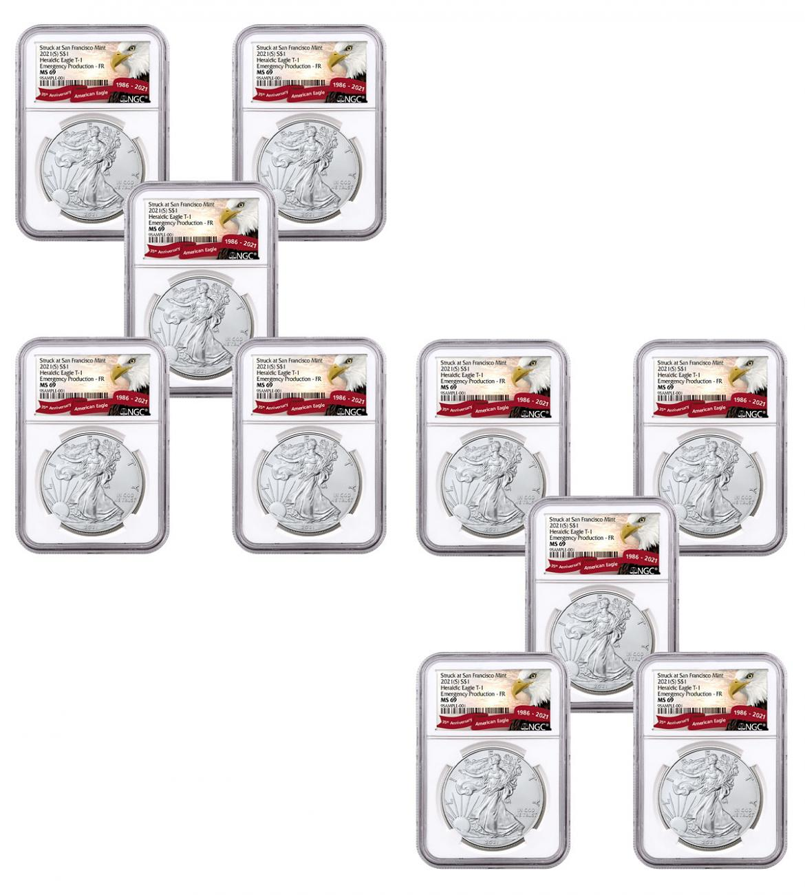 10-Pack - 2021-(S) American Silver Eagle Emergency Production Struck at San Francisco Mint T-1 NGC MS69 FR Exclusive Eagle Label