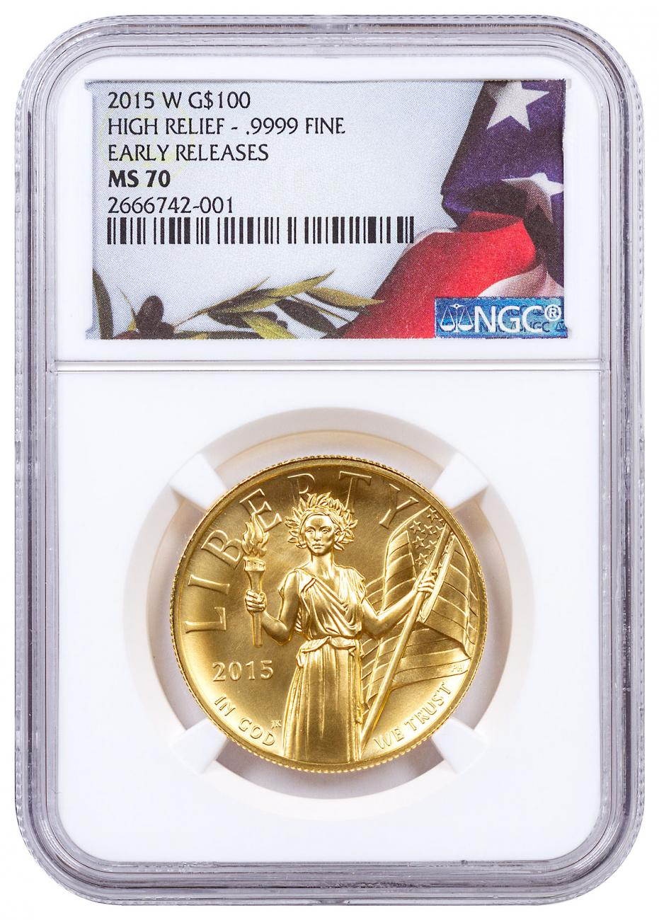 2015-W American Liberty Gold High Relief $100 NGC MS70 ER Draped Flag Label