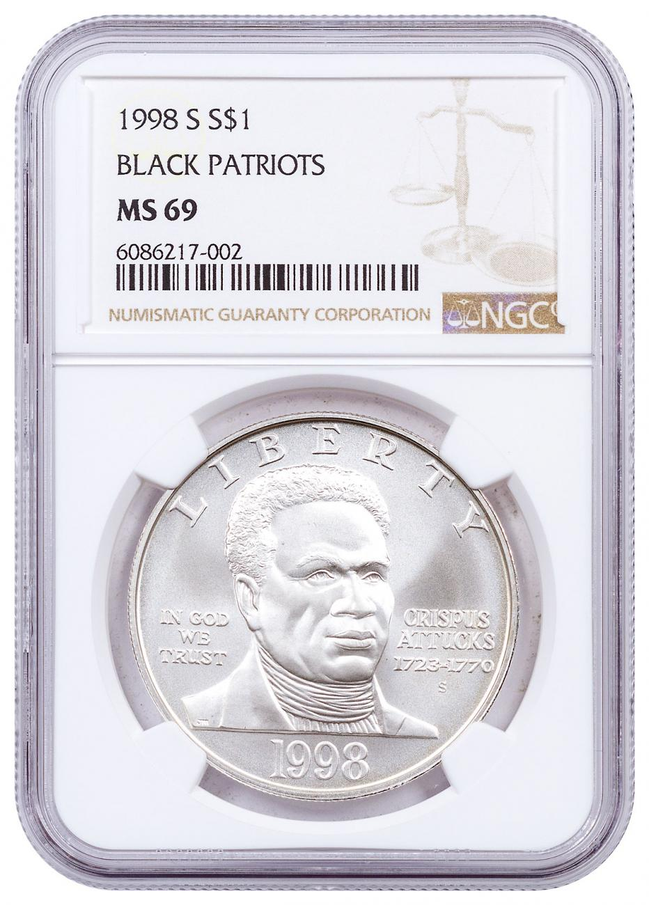 1998-S Black Revolutionary War Patriots Commemorative Silver Dollar NGC MS69 Brown Label