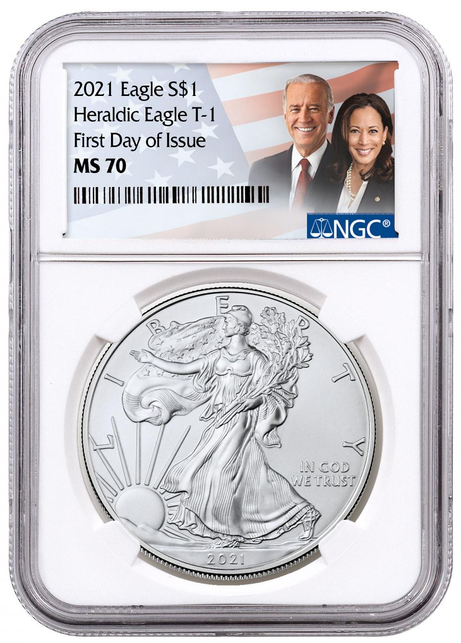 2021 American Silver Eagle T-1 NGC MS70 FDI Biden/Harris Label