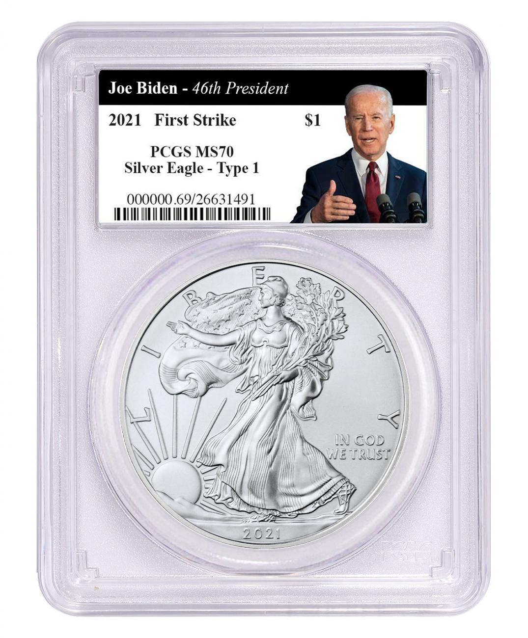 2021 American Silver Eagle T-1 PCGS MS70 FS Biden Thumbs Up Label