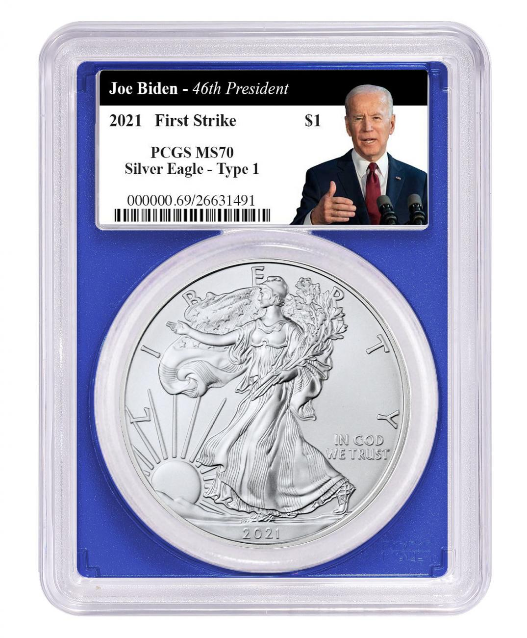 2021 American Silver Eagle T-1 PCGS MS70 FS Blue Frame Biden Thumbs Up Label