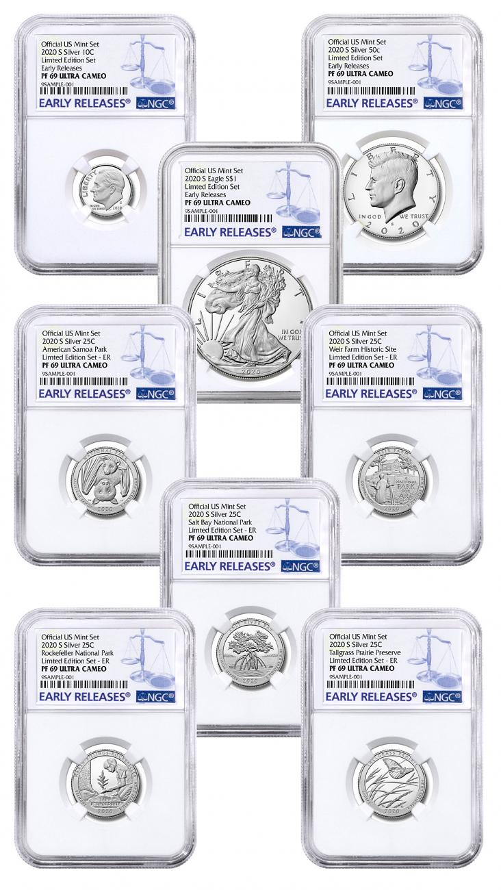 8-Coin Set - 2020-S U.S. Limited Edition Silver Proof Coins Set NGC PF69 UC ER