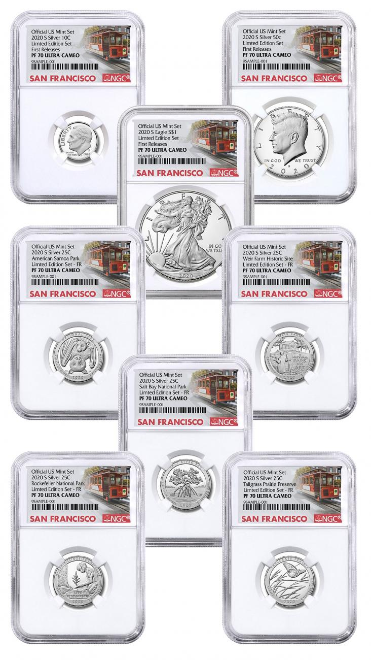 8-Coin Set - 2020-S U.S. Limited Edition Silver Proof Coins Set NGC PF70 UC FR Trolley Label