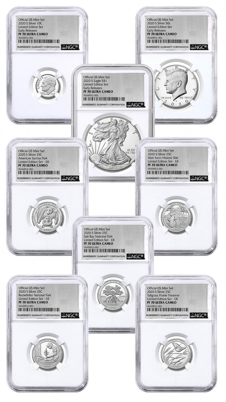 8-Coin Set - 2020-S U.S. Limited Edition Silver Proof Coins Set NGC PF70 UC ER Exclusive Silver Foil Label