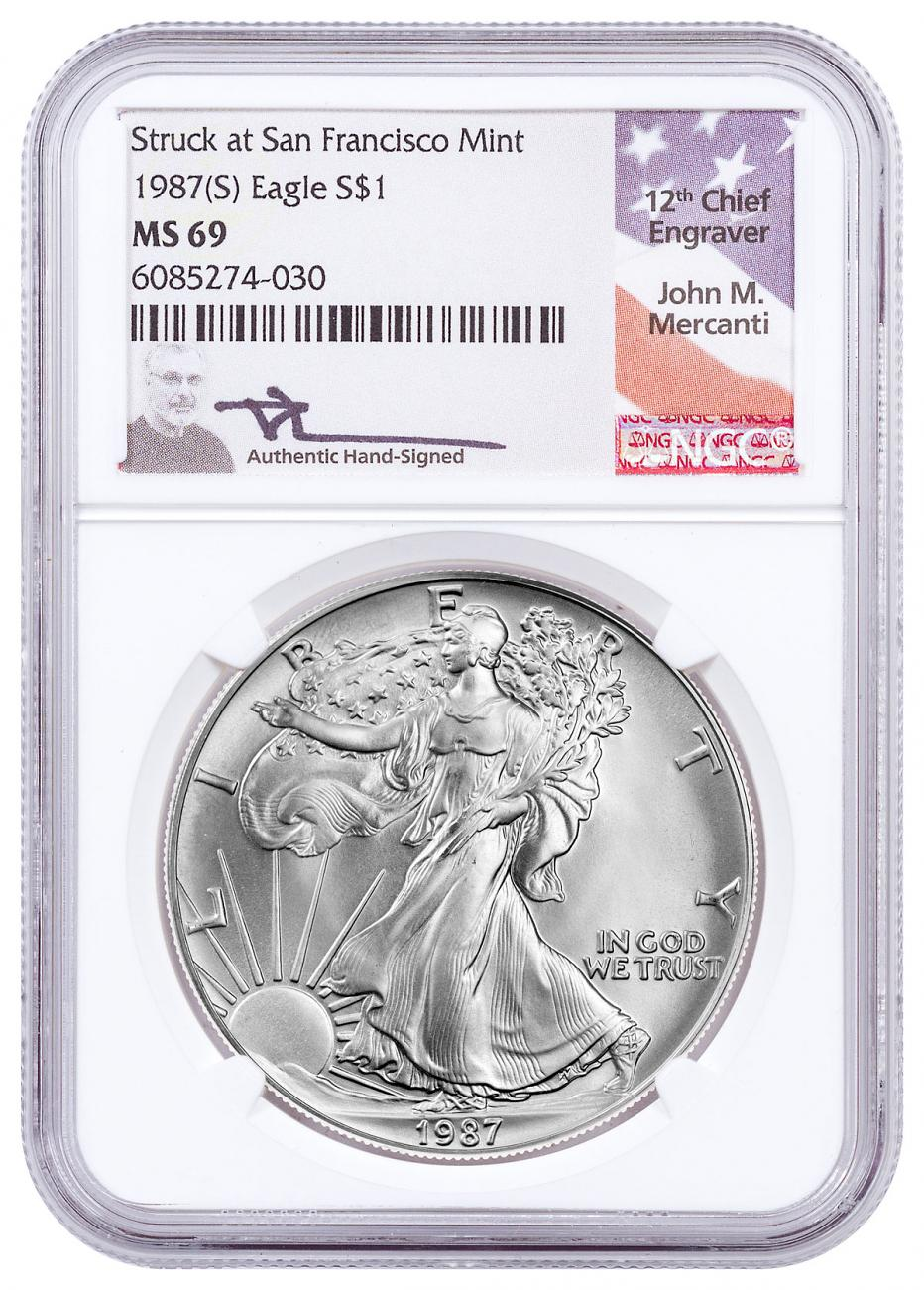 1987-(S) American Silver Eagle Struck at San Francisco Mint NGC MS69 Mercanti Signed Flag Label