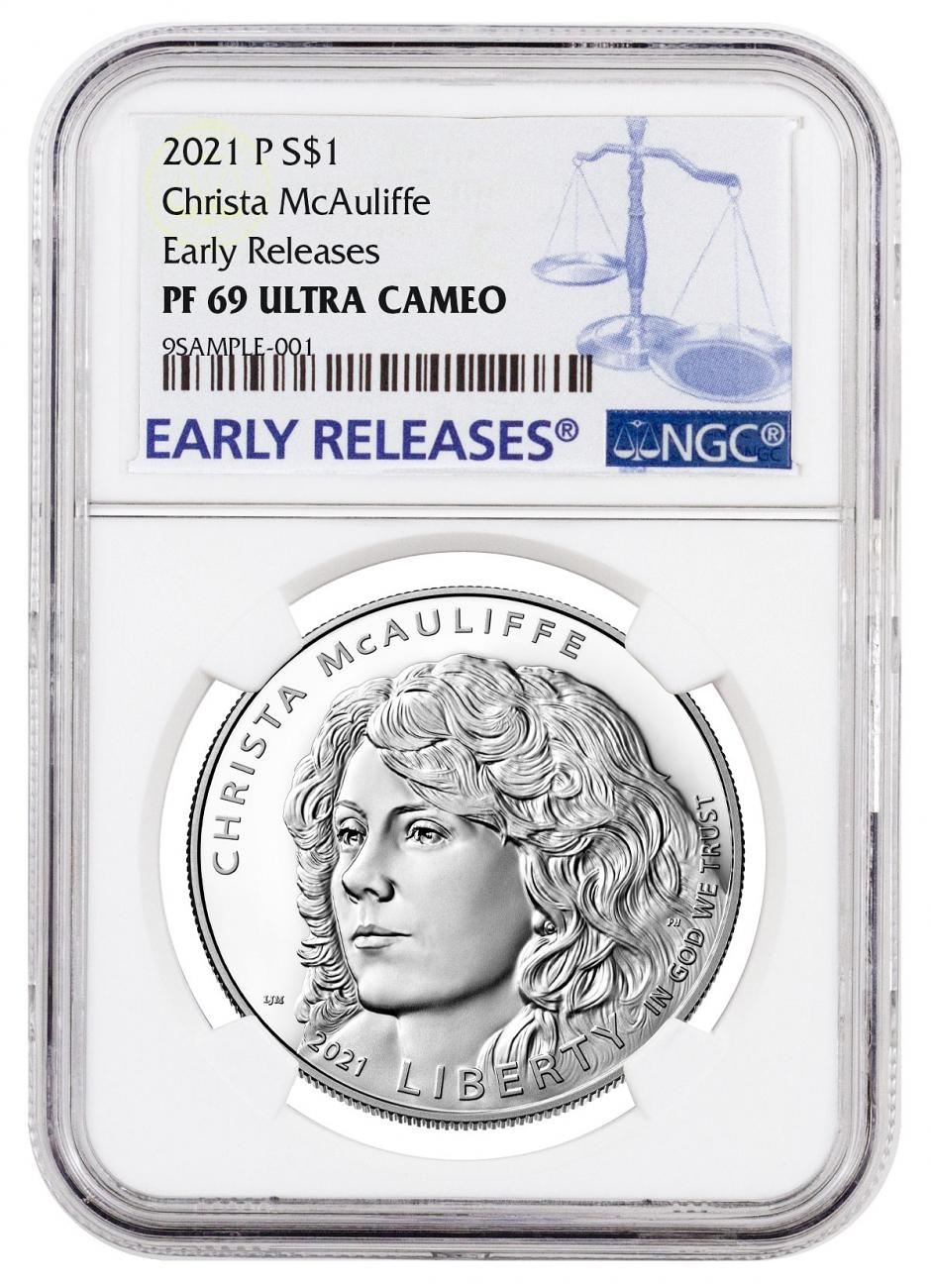 2021-P Christa McAuliffe Commemorative Silver Dollar Proof Coin NGC PF69 UC ER