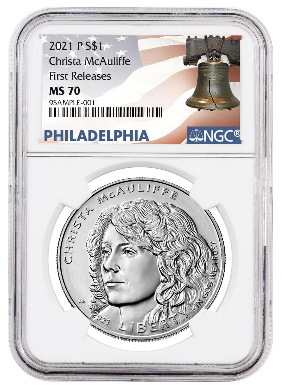 2021-P Christa McAuliffe Commemorative Uncirculated Silver Dollar Coin NGC MS70 FR Liberty Bell Label