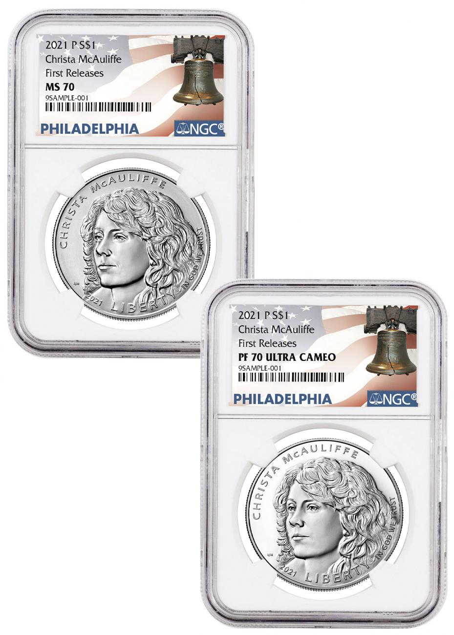 2021-P Christa McAuliffe 2-Coin Set Commemorative Silver Dollar Proof + Uncirculated NGC MS70 + PF70 FR Liberty Bell Label