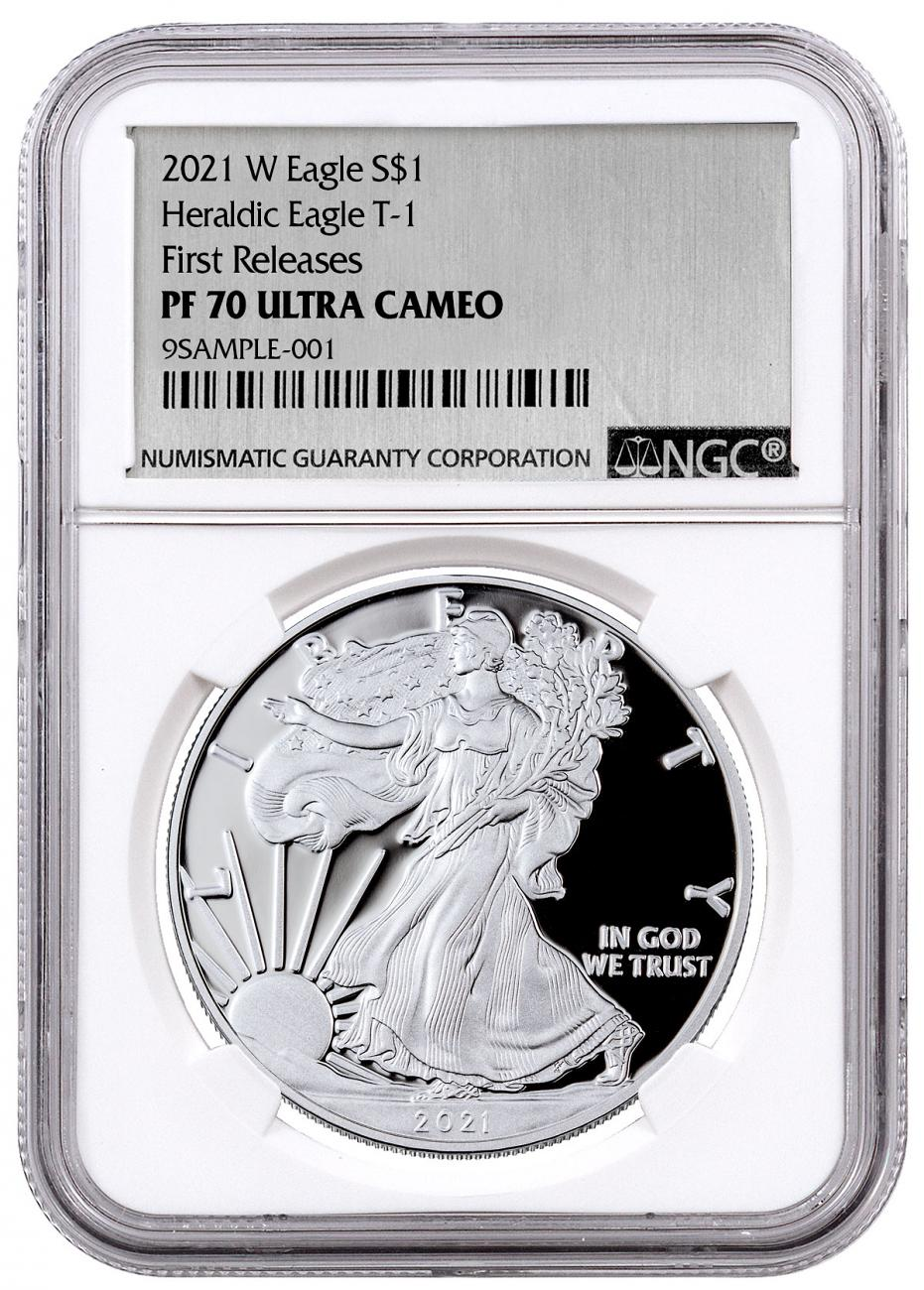 2021-W Proof American Silver Eagle NGC PF70 UC FR Exclusive Silver Foil Label